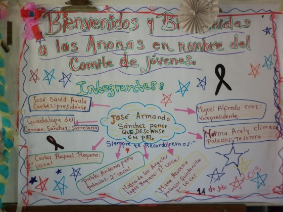 A poster made by the youth committee in Las Anonas, of which Jose Armando was a member.
